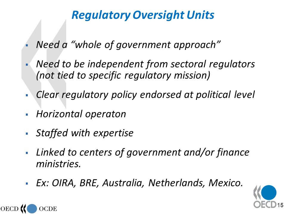 15 Regulatory Oversight Units Need a whole of government approach Need to be independent from sectoral regulators (not tied to specific regulatory mission) Clear regulatory policy endorsed at political level Horizontal operaton Staffed with expertise Linked to centers of government and/or finance ministries.