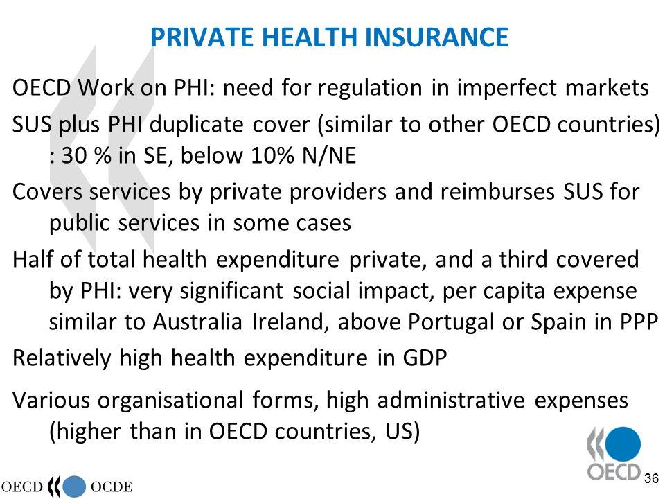 36 PRIVATE HEALTH INSURANCE OECD Work on PHI: need for regulation in imperfect markets SUS plus PHI duplicate cover (similar to other OECD countries) : 30 % in SE, below 10% N/NE Covers services by private providers and reimburses SUS for public services in some cases Half of total health expenditure private, and a third covered by PHI: very significant social impact, per capita expense similar to Australia Ireland, above Portugal or Spain in PPP Relatively high health expenditure in GDP Various organisational forms, high administrative expenses (higher than in OECD countries, US)
