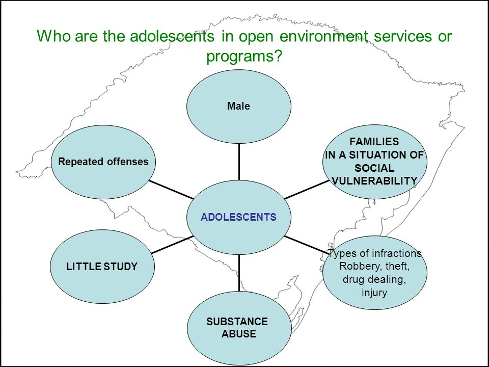 Who are the adolescents in open environment services or programs? Repeated offenses LITTLE STUDY SUBSTANCE ABUSE Types of infractions Robbery, theft,