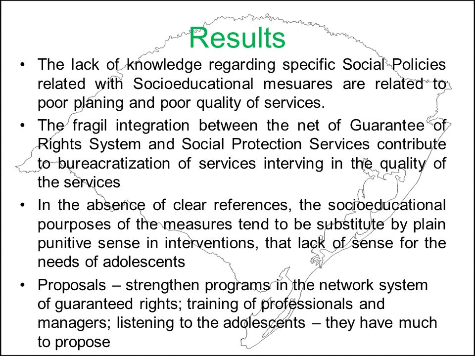 Results The lack of knowledge regarding specific Social Policies related with Socioeducational mesuares are related to poor planing and poor quality o