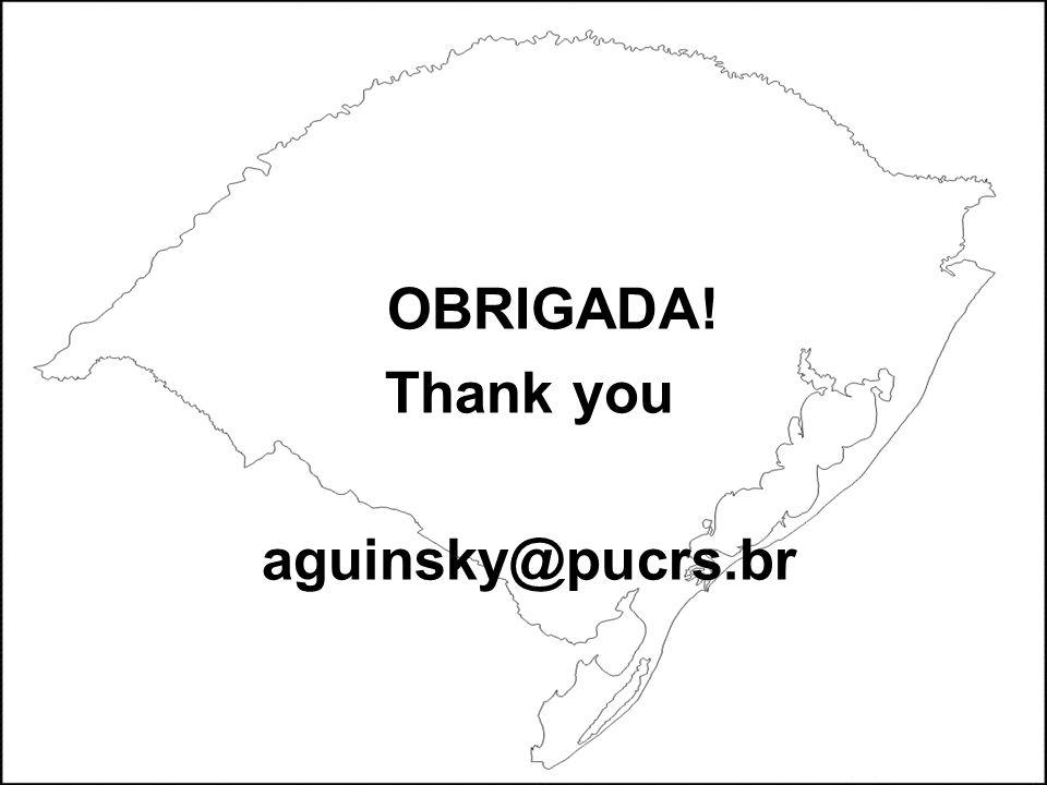 OBRIGADA! Thank you aguinsky@pucrs.br