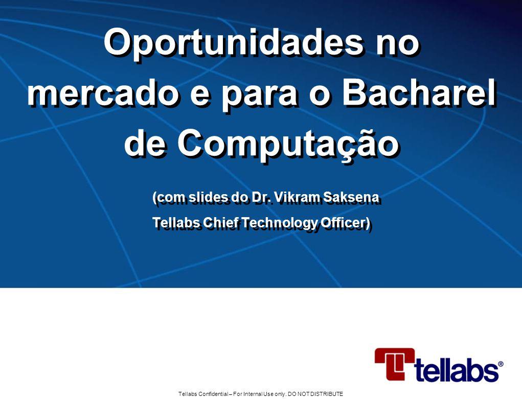 Tellabs Confidential – For Internal Use only. DO NOT DISTRIBUTE Oportunidades no mercado e para o Bacharel de Computação (com slides do Dr. Vikram Sak