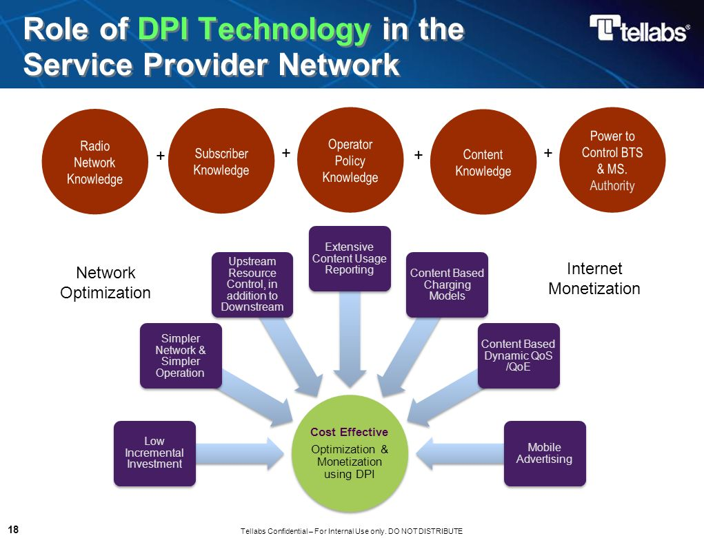 Tellabs Confidential – For Internal Use only. DO NOT DISTRIBUTE 18 Role of DPI Technology in the Service Provider Network Cost Effective Optimization