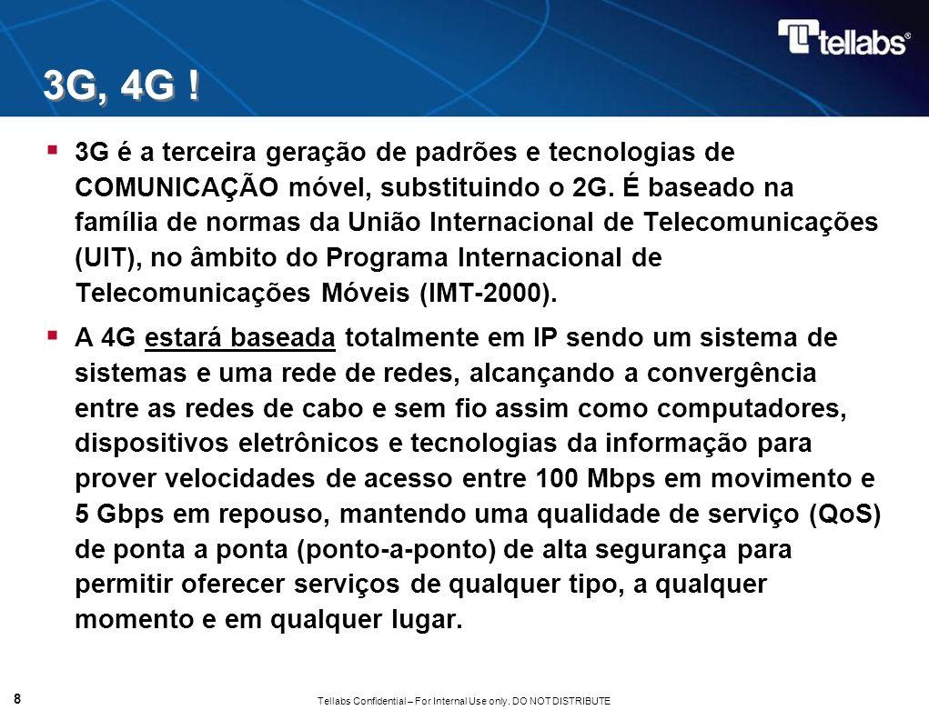 Tellabs Confidential – For Internal Use only. DO NOT DISTRIBUTE 3G, 4G ! 3G é a terceira geração de padrões e tecnologias de COMUNICAÇÃO móvel, substi