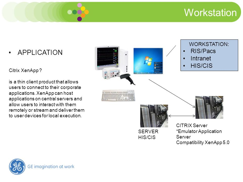 Workstation Connectivity Solution APPLICATION WORKSTATION: RIS/Pacs Intranet HIS/CIS CITRIX Server *Emulator Application Server Compatibility XenApp 5