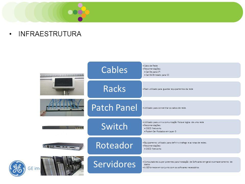 Estrutura de TI Hospitalar INFRAESTRUTURA Cabo de Rede Recomendações: Cat 5e para UTI Cat 6A Blindado para CC Cables Rack utilizado para guardar equip