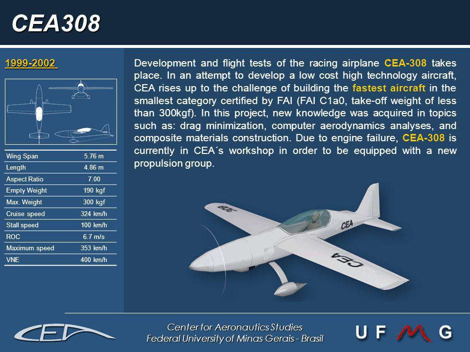 Center for Aeronautics Studies Federal University of Minas Gerais - Brasil CEA308 1999-2002 1999-2002 Development and flight tests of the racing airpl