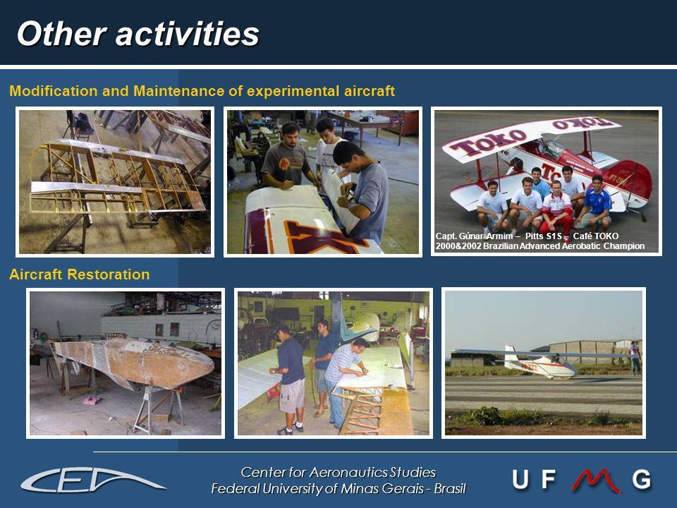 Center for Aeronautics Studies Federal University of Minas Gerais - Brasil Other activities Modification and Maintenance of experimental aircraft Airc