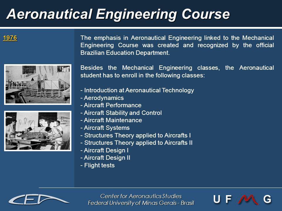 Center for Aeronautics Studies Federal University of Minas Gerais - Brasil Aeronautical Engineering Course 1976 1976The emphasis in Aeronautical Engin