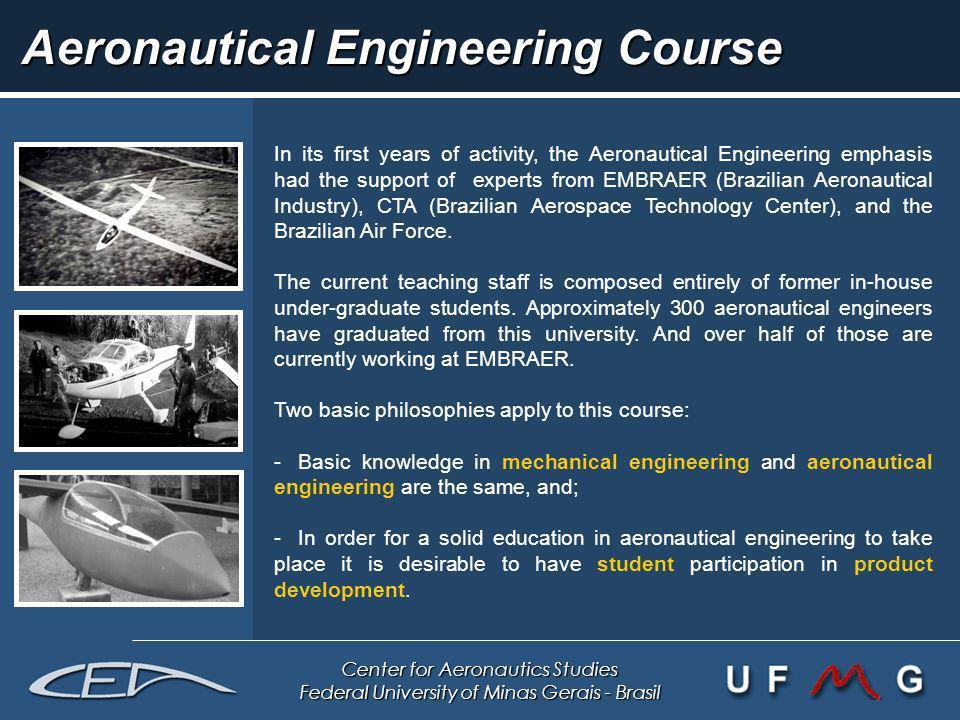 Center for Aeronautics Studies Federal University of Minas Gerais - Brasil Aeronautical Engineering Course In its first years of activity, the Aeronau