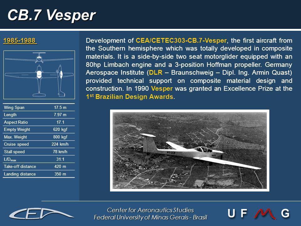 Center for Aeronautics Studies Federal University of Minas Gerais - Brasil CB.7 Vesper 1985-1988 1985-1988 Development of CEA/CETEC303-CB.7-Vesper, th