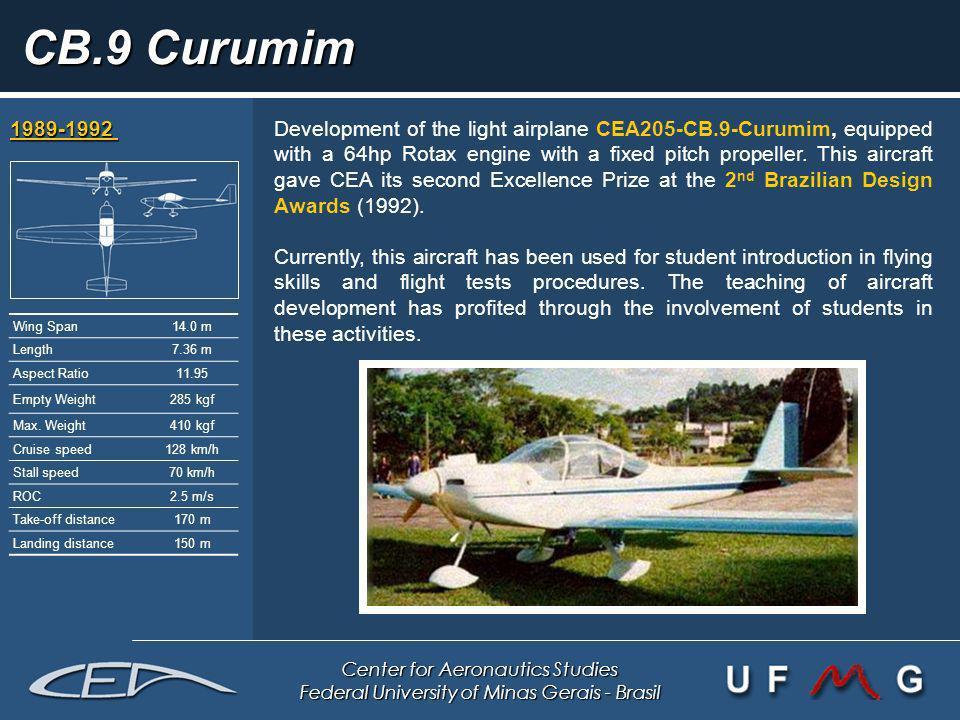 Center for Aeronautics Studies Federal University of Minas Gerais - Brasil CB.9 Curumim 1989-1992 1989-1992 Development of the light airplane CEA205-C