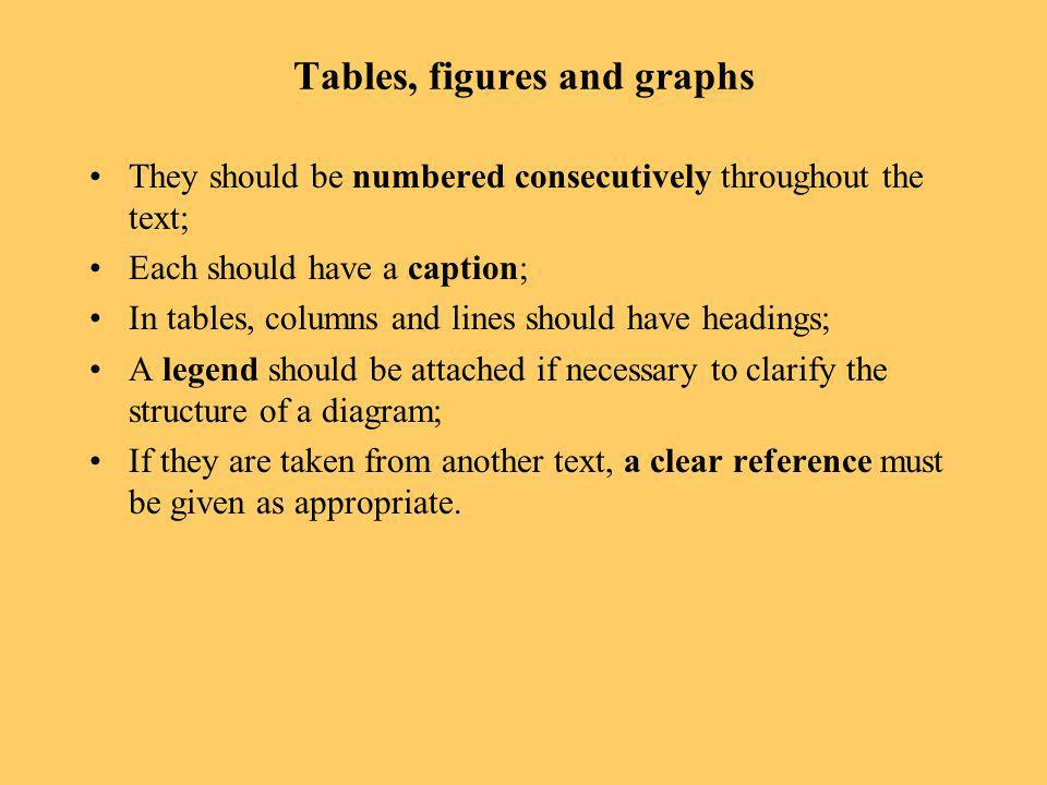 Tables, figures and graphs They should be numbered consecutively throughout the text; Each should have a caption; In tables, columns and lines should have headings; A legend should be attached if necessary to clarify the structure of a diagram; If they are taken from another text, a clear reference must be given as appropriate.