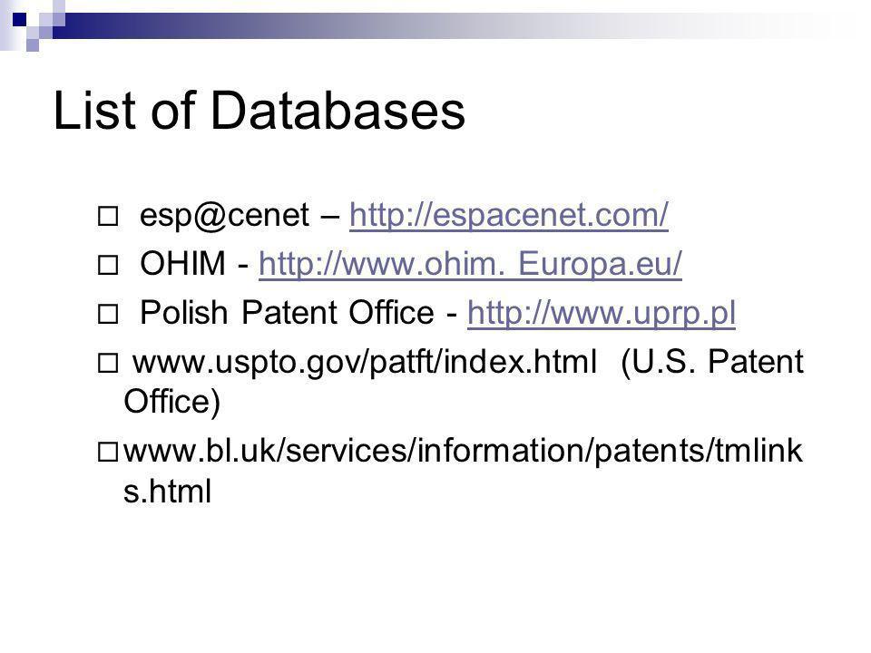 List of Databases esp@cenet – http://espacenet.com/http://espacenet.com/ OHIM - http://www.ohim.