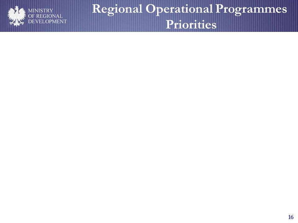 MINISTRY OF REGIONAL DEVELOPMENT 16 Regional Operational Programmes Priorities
