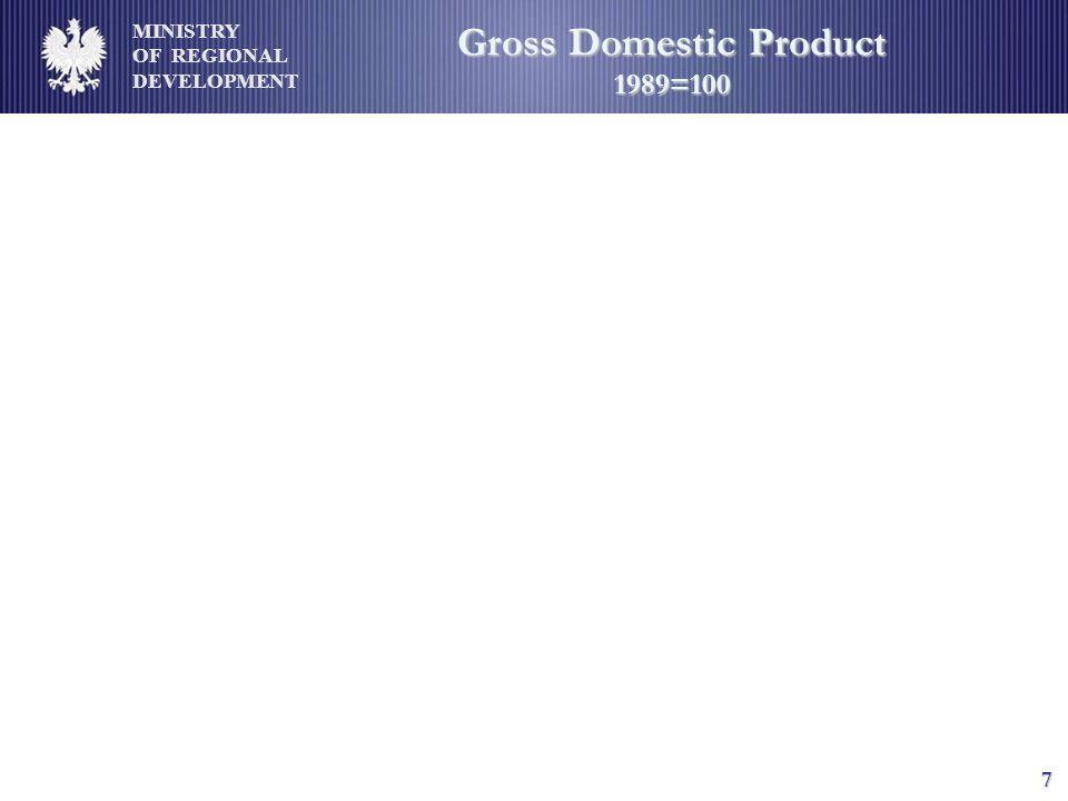 MINISTRY OF REGIONAL DEVELOPMENT 7 Gross Domestic Product 1989=100