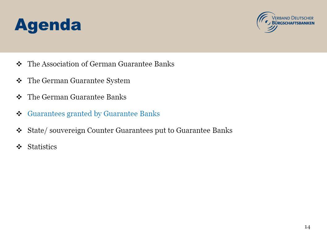 Agenda 14 The Association of German Guarantee Banks The German Guarantee System The German Guarantee Banks Guarantees granted by Guarantee Banks State/ souvereign Counter Guarantees put to Guarantee Banks Statistics
