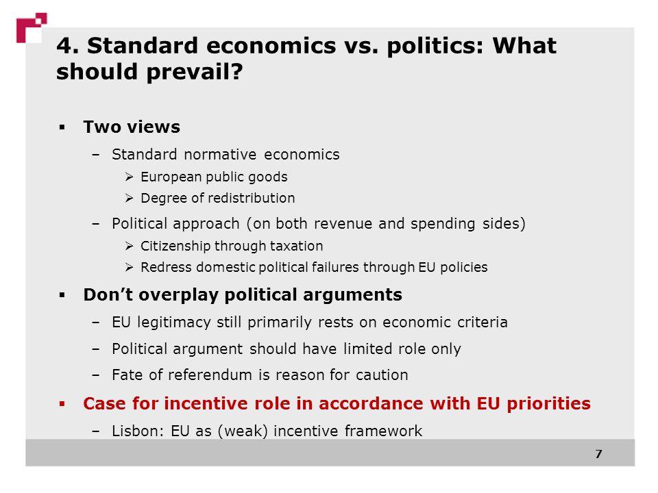 4. Standard economics vs. politics: What should prevail? Two views –Standard normative economics European public goods Degree of redistribution –Polit