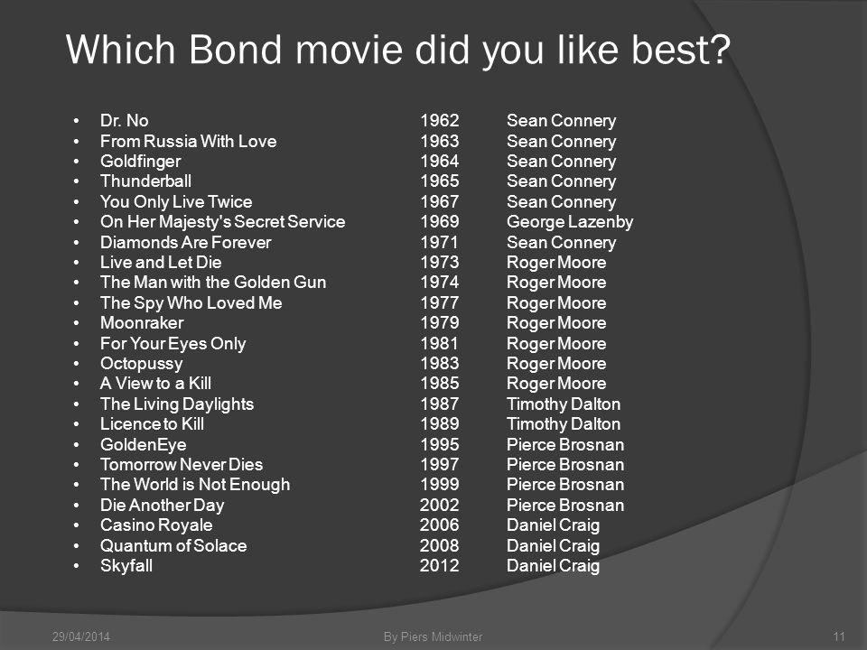 Which Bond movie did you like best. 29/04/2014By Piers Midwinter11 Dr.
