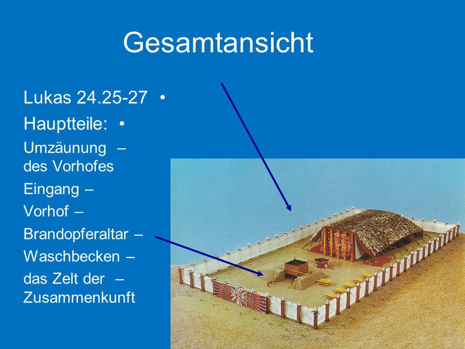 Gesamtansicht Lukas 24.25-27 Hauptteile: –Umzäunung des Vorhofes –Eingang –Vorhof –Brandopferaltar –Waschbecken –das Zelt der Zusammenkunft