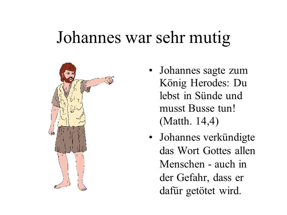Johannes war sehr mutig Johannes sagte zum König Herodes: Du lebst in Sünde und musst Busse tun.