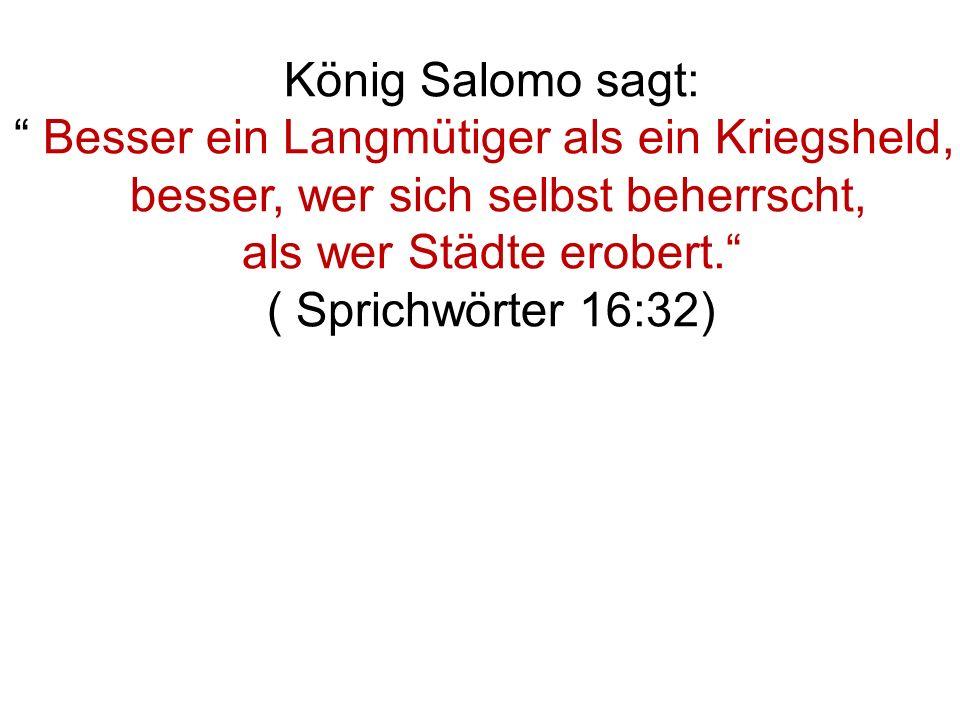 König Salomo sagt: Besser ein Langmütiger als ein Kriegsheld, besser, wer sich selbst beherrscht, als wer Städte erobert.