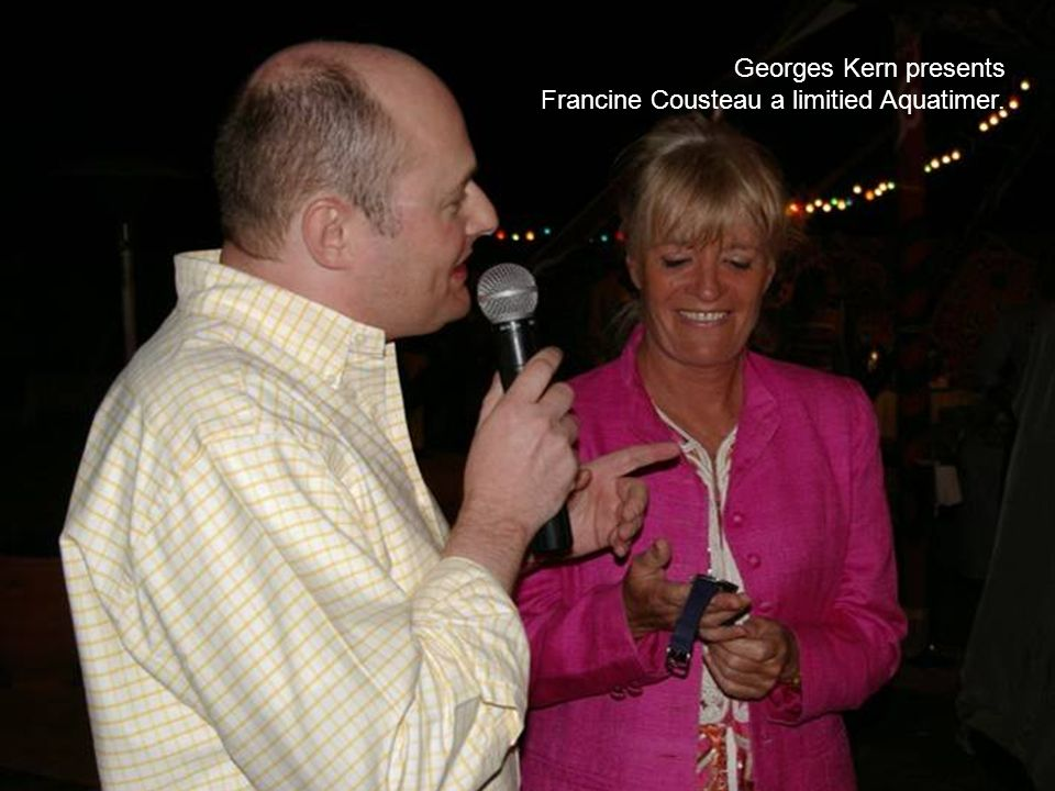 Georges Kern presents Francine Cousteau a limitied Aquatimer.
