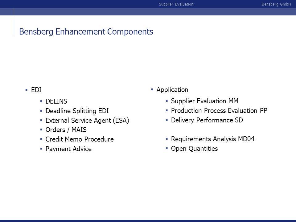 Bensberg GmbHSupplier Evaluation Bensberg Enhancement Components EDI DELINS Deadline Splitting EDI External Service Agent (ESA) Orders / MAIS Credit M