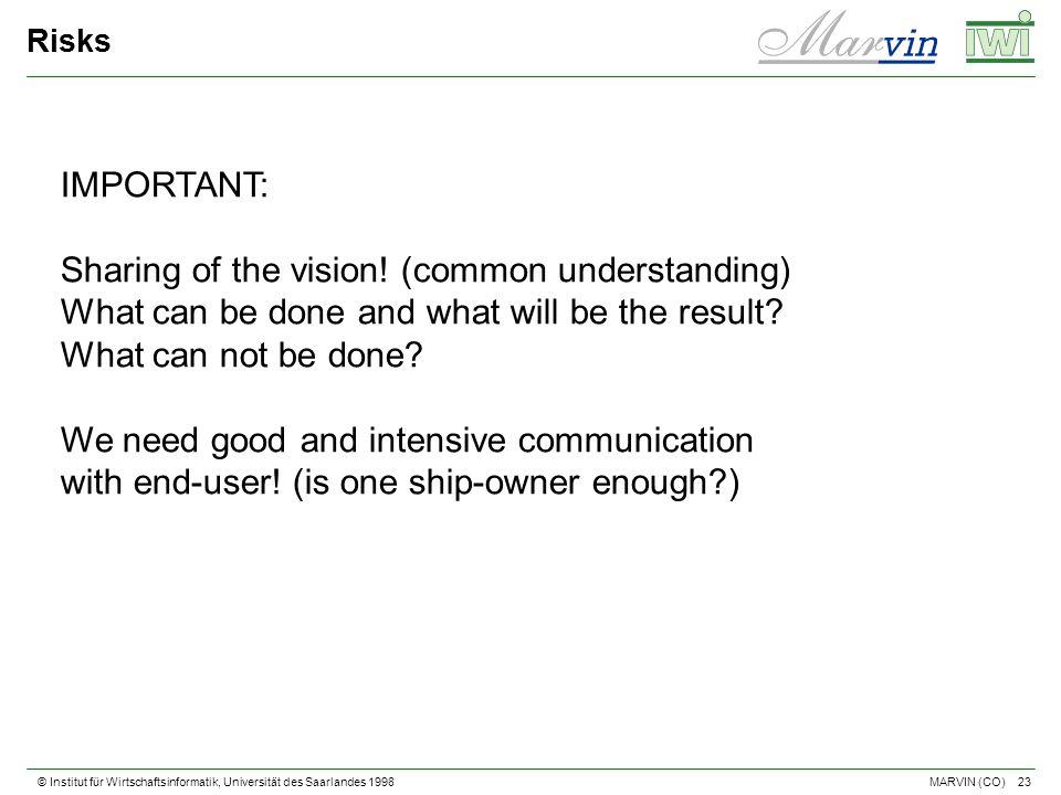 © Institut für Wirtschaftsinformatik, Universität des Saarlandes 1998 23 MARVIN (CO) Risks IMPORTANT: Sharing of the vision.