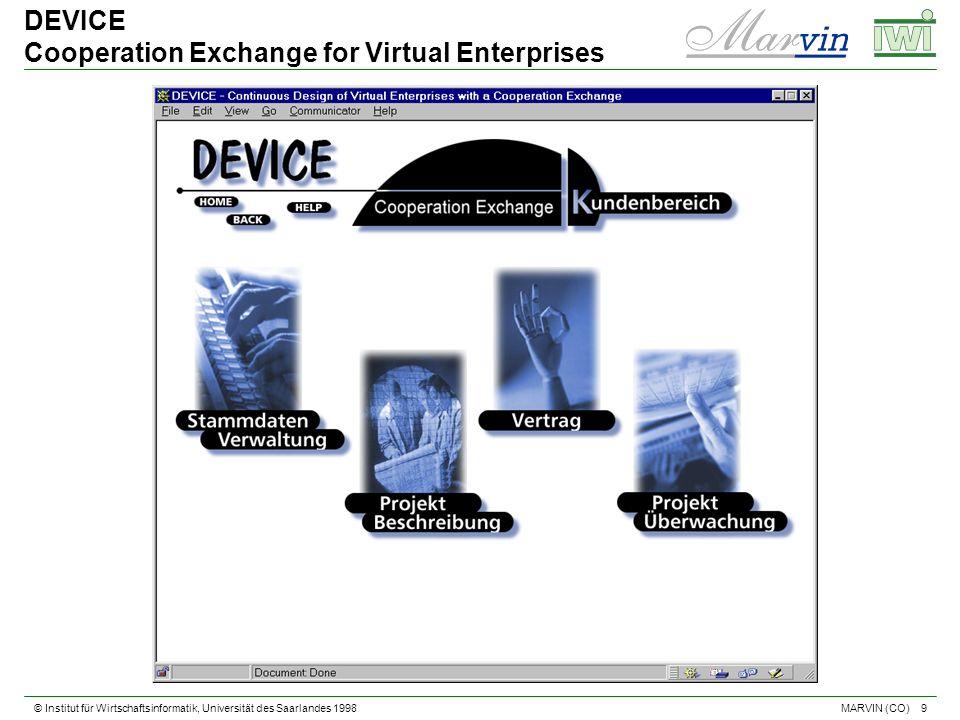 © Institut für Wirtschaftsinformatik, Universität des Saarlandes 1998 9 MARVIN (CO) DEVICE Cooperation Exchange for Virtual Enterprises
