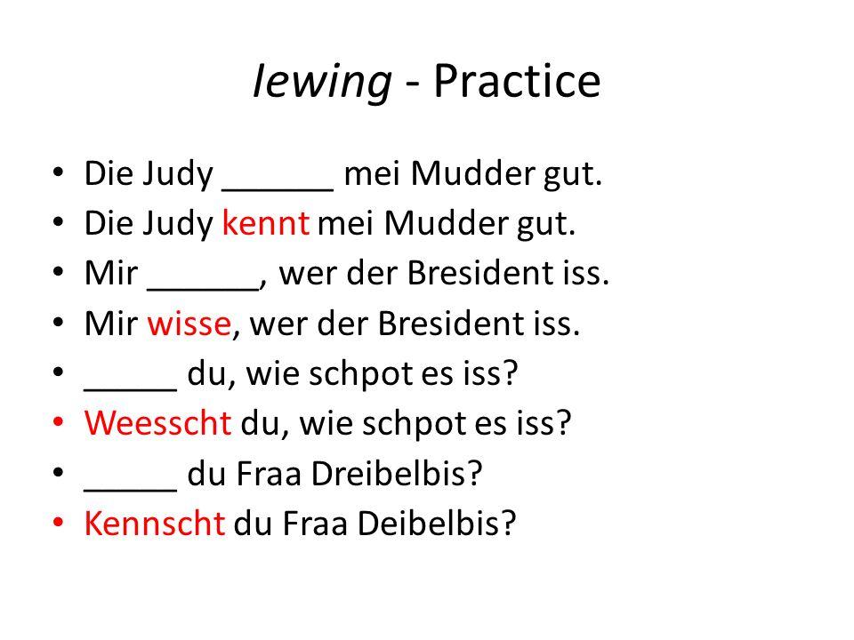 Iewing - Practice Die Judy ______ mei Mudder gut. Die Judy kennt mei Mudder gut.