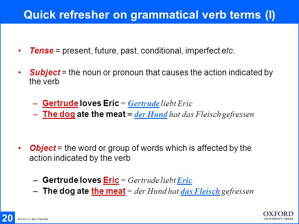 Tense = present, future, past, conditional, imperfect etc. Subject = the noun or pronoun that causes the action indicated by the verb –Gertrude loves