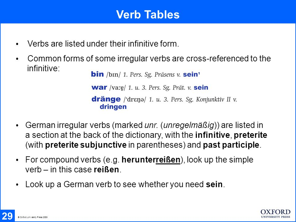Verb Tables 29 © Oxford University Press 2005 Verbs are listed under their infinitive form. Common forms of some irregular verbs are cross-referenced