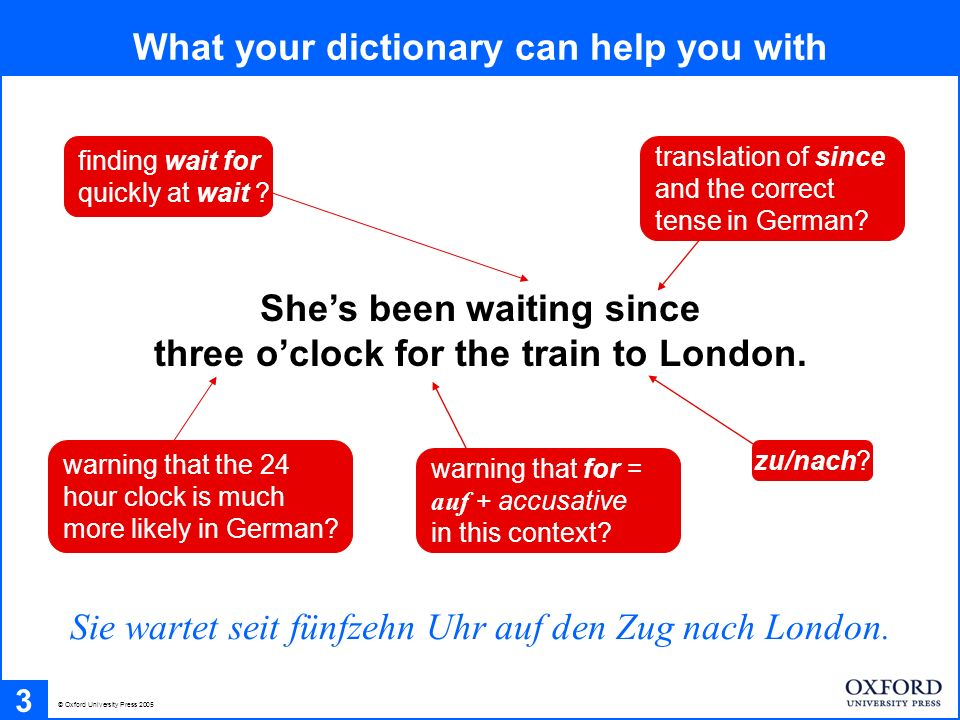 What your dictionary can help you with 3 Shes been waiting since three oclock for the train to London.