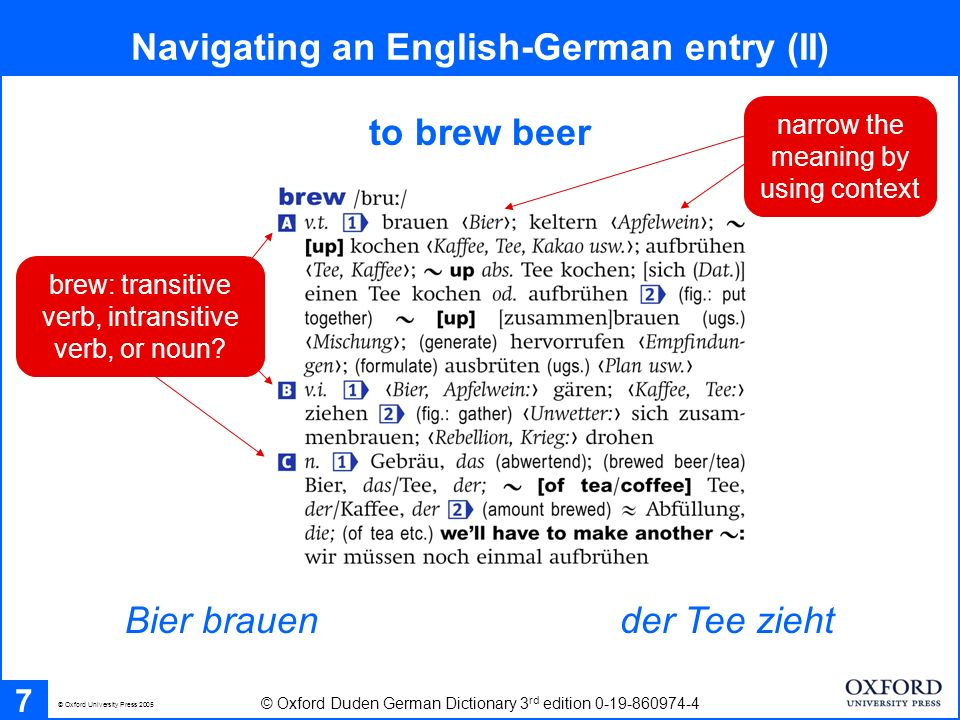 Bier brauen to brew beer Navigating an English-German entry (II) 7 © Oxford Duden German Dictionary 3 rd edition 0-19-860974-4 der Tee zieht © Oxford