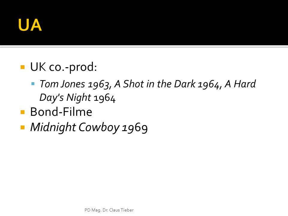 UK co.-prod: Tom Jones 1963, A Shot in the Dark 1964, A Hard Day's Night 1964 Bond-Filme Midnight Cowboy 1969 PD Mag. Dr. Claus Tieber