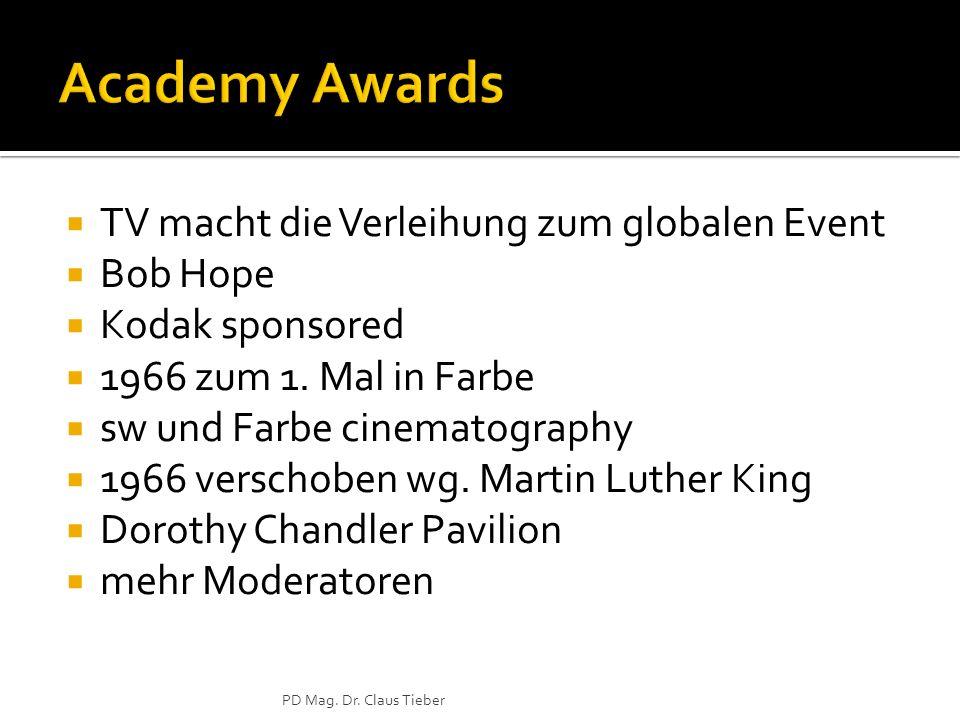 TV macht die Verleihung zum globalen Event Bob Hope Kodak sponsored 1966 zum 1.
