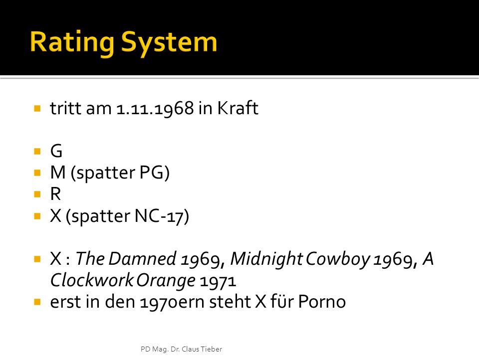 tritt am 1.11.1968 in Kraft G M (spatter PG) R X (spatter NC-17) X : The Damned 1969, Midnight Cowboy 1969, A Clockwork Orange 1971 erst in den 1970er