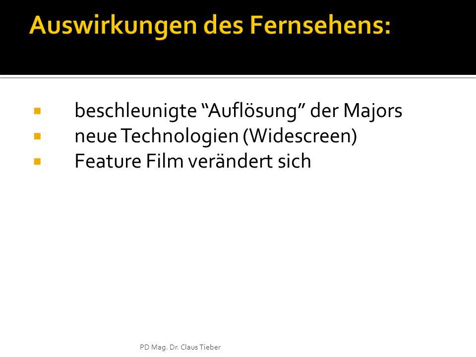 beschleunigte Auflösung der Majors neue Technologien (Widescreen) Feature Film verändert sich PD Mag.