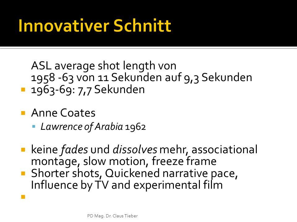 ASL average shot length von 1958 -63 von 11 Sekunden auf 9,3 Sekunden 1963-69: 7,7 Sekunden Anne Coates Lawrence of Arabia 1962 keine fades und dissol