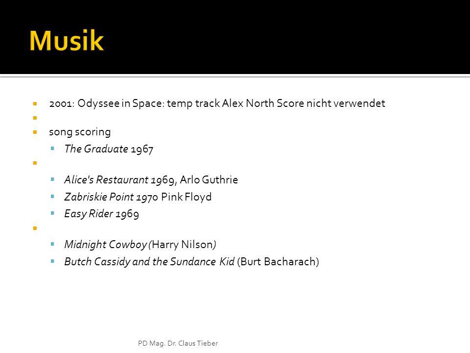 2001: Odyssee in Space: temp track Alex North Score nicht verwendet song scoring The Graduate 1967 Alice's Restaurant 1969, Arlo Guthrie Zabriskie Poi