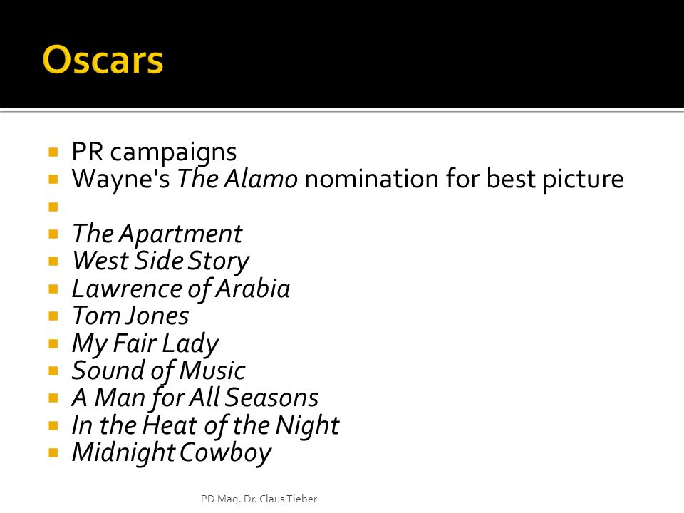 PR campaigns Wayne s The Alamo nomination for best picture The Apartment West Side Story Lawrence of Arabia Tom Jones My Fair Lady Sound of Music A Man for All Seasons In the Heat of the Night Midnight Cowboy PD Mag.