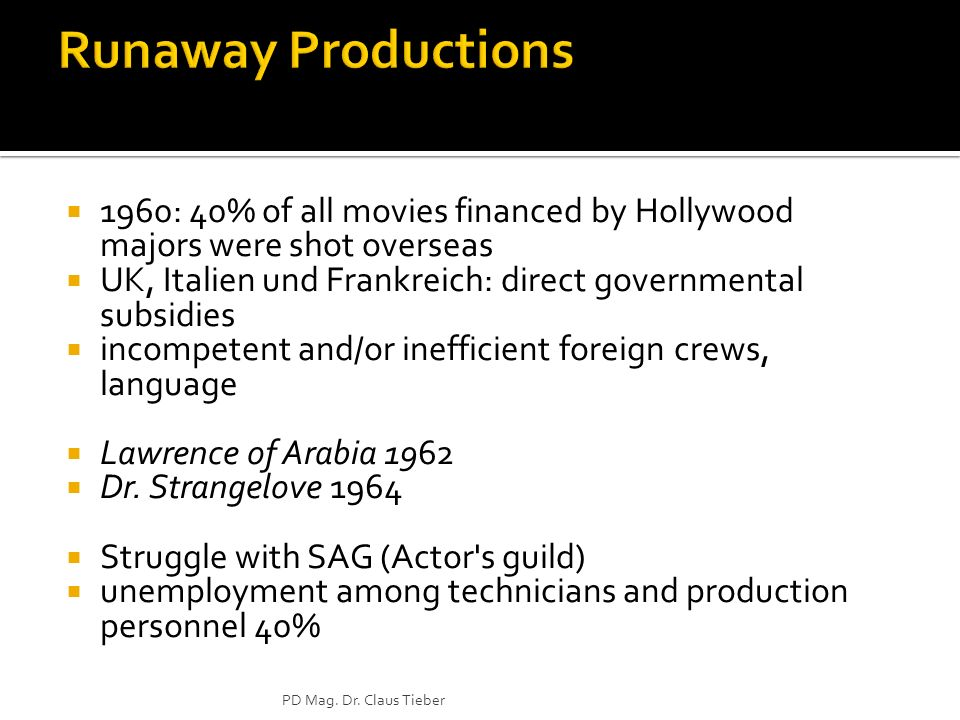 1960: 40% of all movies financed by Hollywood majors were shot overseas UK, Italien und Frankreich: direct governmental subsidies incompetent and/or inefficient foreign crews, language Lawrence of Arabia 1962 Dr.