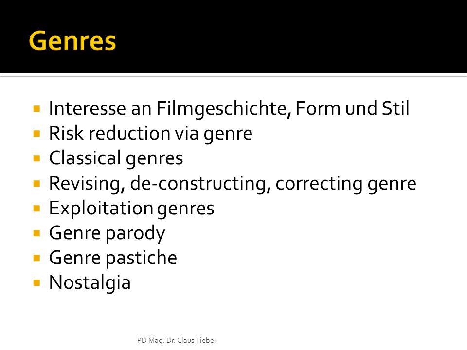 Interesse an Filmgeschichte, Form und Stil Risk reduction via genre Classical genres Revising, de-constructing, correcting genre Exploitation genres Genre parody Genre pastiche Nostalgia PD Mag.