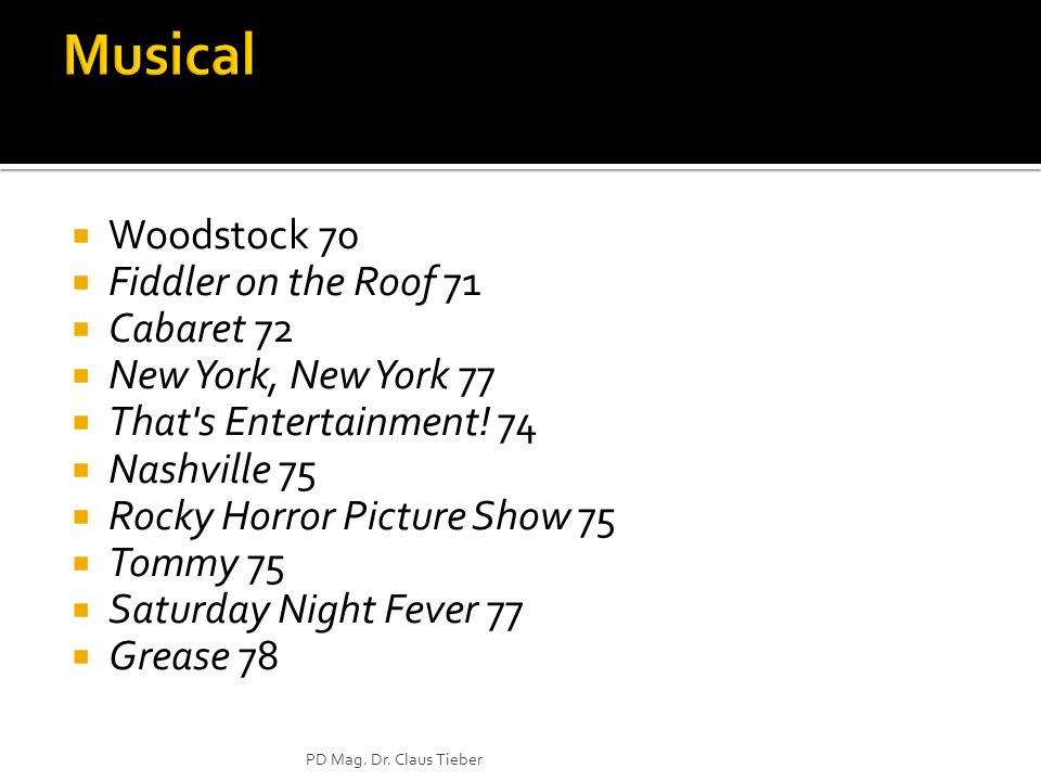 Woodstock 70 Fiddler on the Roof 71 Cabaret 72 New York, New York 77 That s Entertainment.