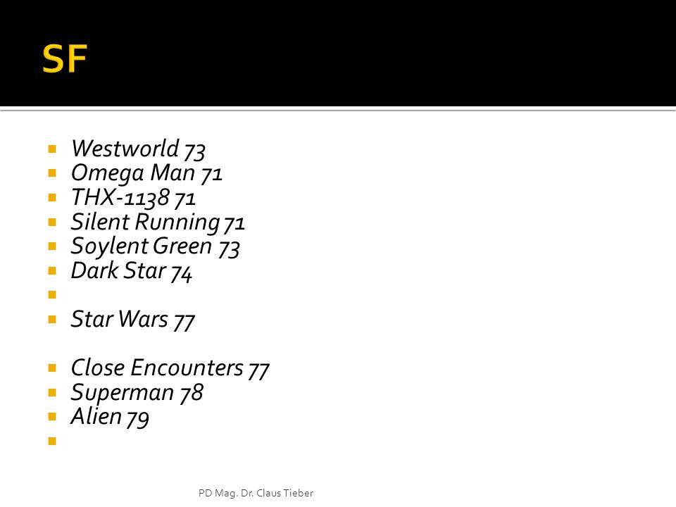 Westworld 73 Omega Man 71 THX-1138 71 Silent Running 71 Soylent Green 73 Dark Star 74 Star Wars 77 Close Encounters 77 Superman 78 Alien 79 PD Mag. Dr