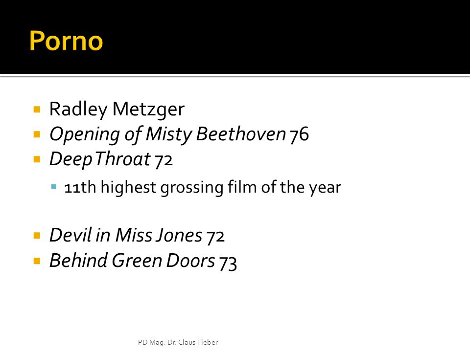 Radley Metzger Opening of Misty Beethoven 76 Deep Throat 72 11th highest grossing film of the year Devil in Miss Jones 72 Behind Green Doors 73 PD Mag.