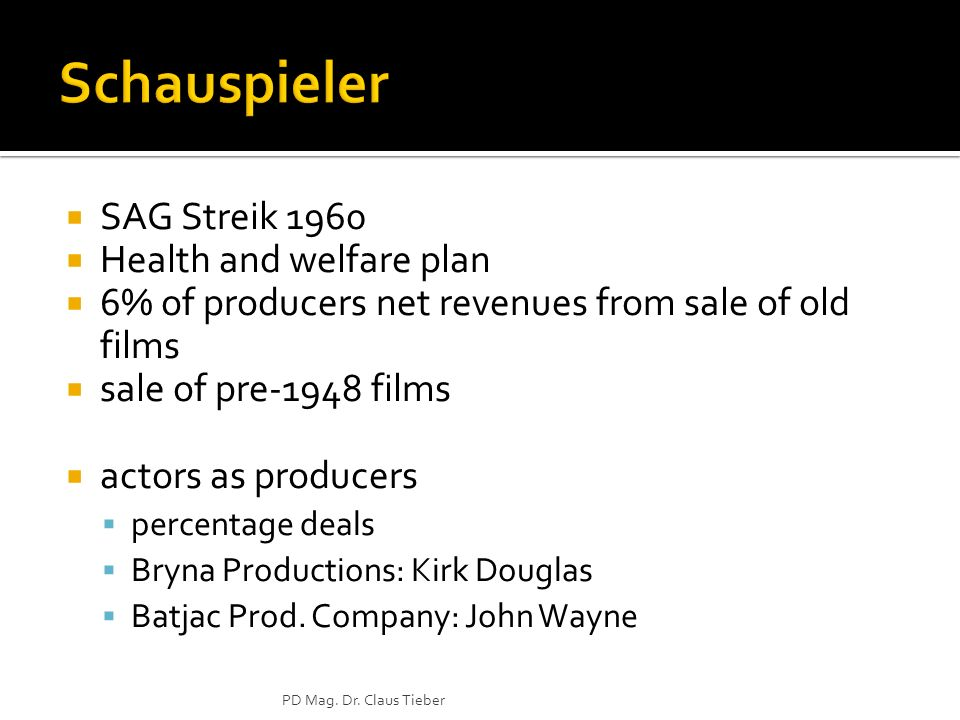 SAG Streik 1960 Health and welfare plan 6% of producers net revenues from sale of old films sale of pre-1948 films actors as producers percentage deals Bryna Productions: Kirk Douglas Batjac Prod.