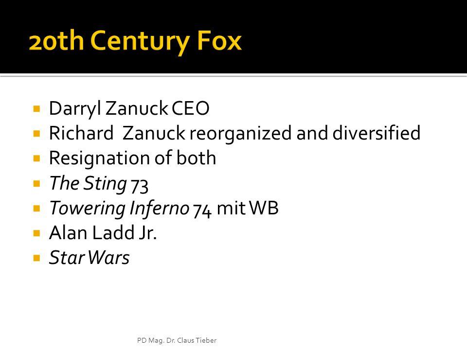 Darryl Zanuck CEO Richard Zanuck reorganized and diversified Resignation of both The Sting 73 Towering Inferno 74 mit WB Alan Ladd Jr. Star Wars PD Ma