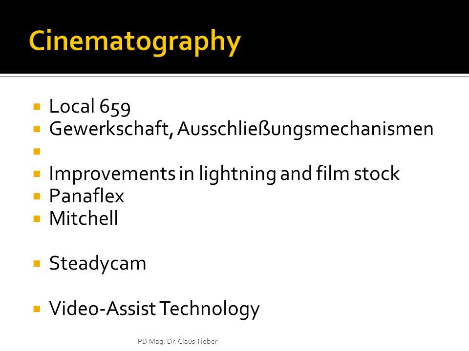 Local 659 Gewerkschaft, Ausschließungsmechanismen Improvements in lightning and film stock Panaflex Mitchell Steadycam Video-Assist Technology PD Mag.